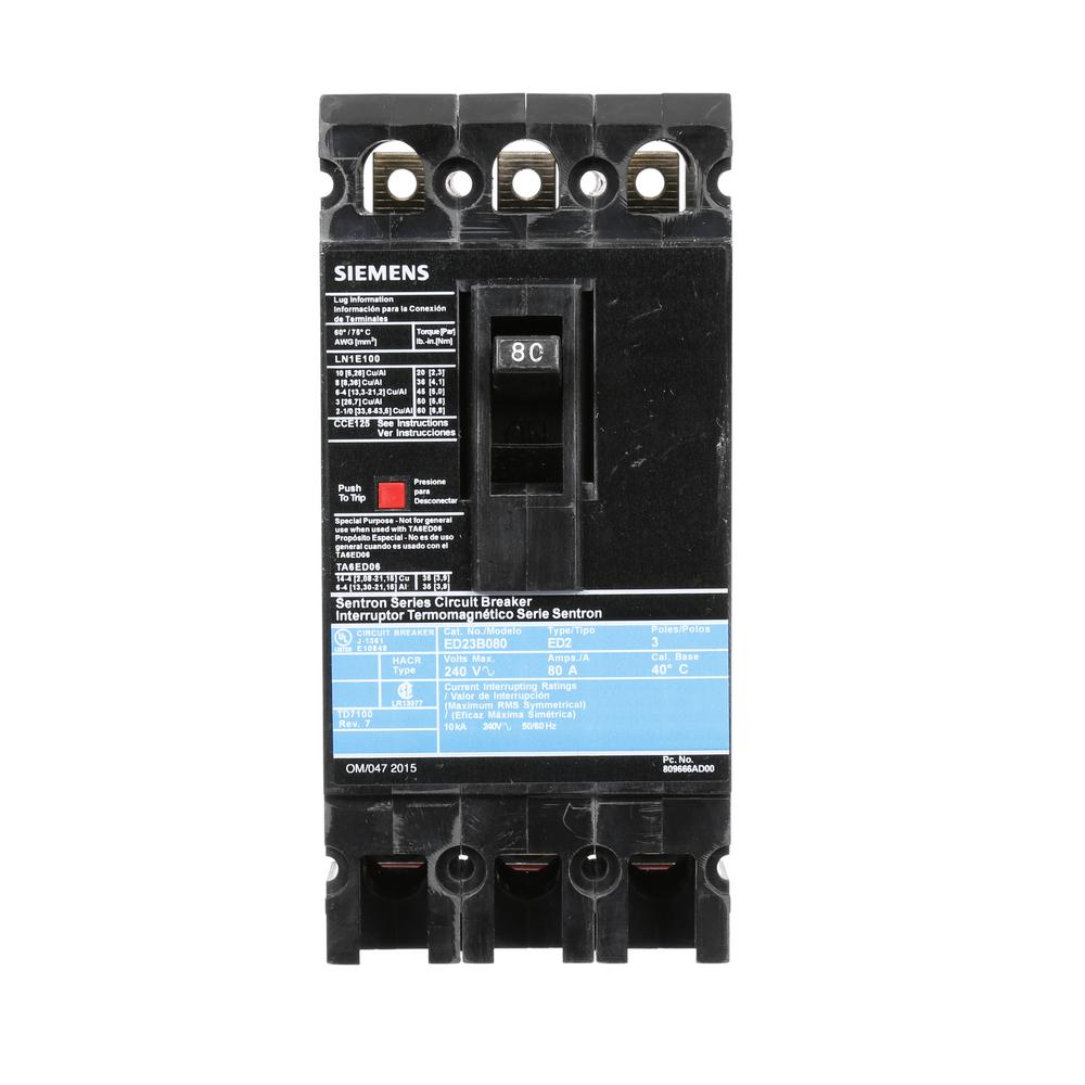 siemens 80 amp 3 pole type ed 10 ka circuit breaker ed23b080 the home depot. Black Bedroom Furniture Sets. Home Design Ideas