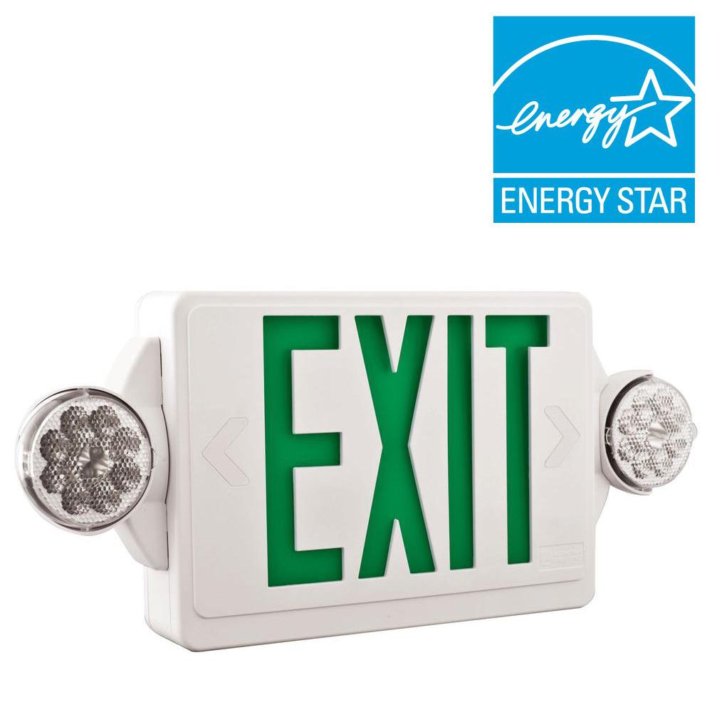 Lithonia Lighting 2 Light Led White With Green Stencil Exit Sign Emergency Combo