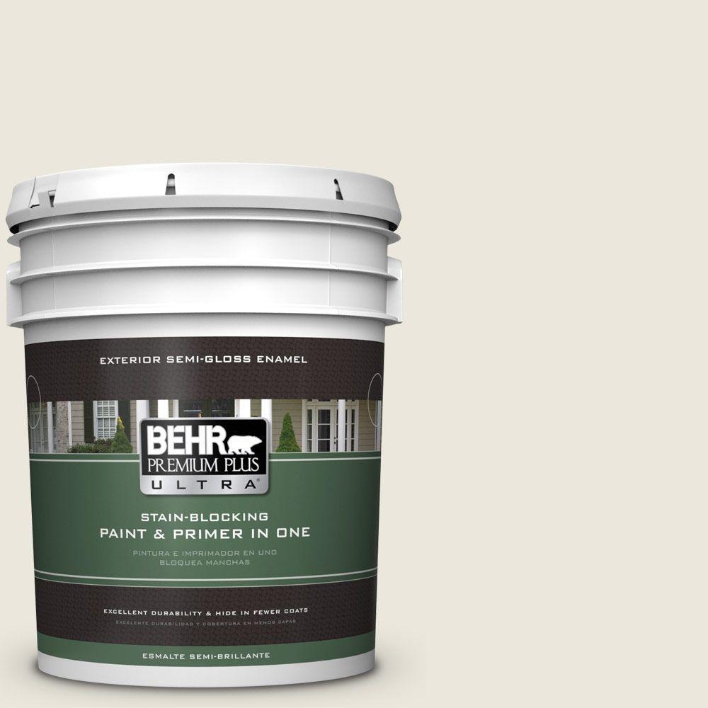 BEHR Premium Plus Ultra 5-gal. #BXC-32 Picket Fence White Semi-Gloss Enamel Exterior Paint
