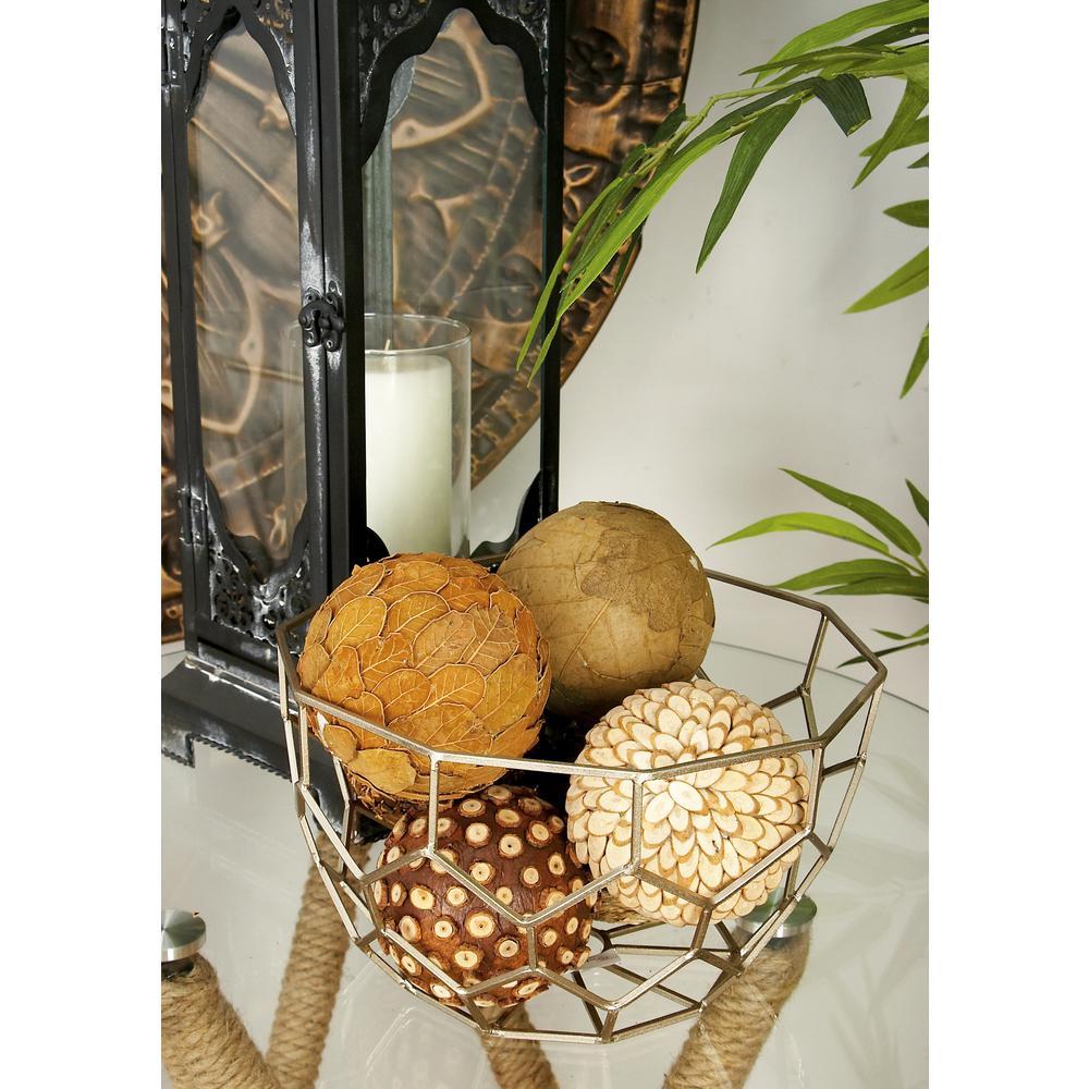 4 in. Coastal Living Brown Dried Plant Fiber Decorative Balls (Set of 8)