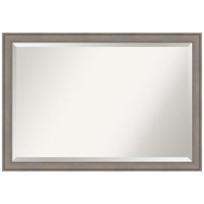 Graywash 39 in. W x 27 in. H Framed Rectangular Beveled Edge Bathroom Vanity Mirror in Graywash