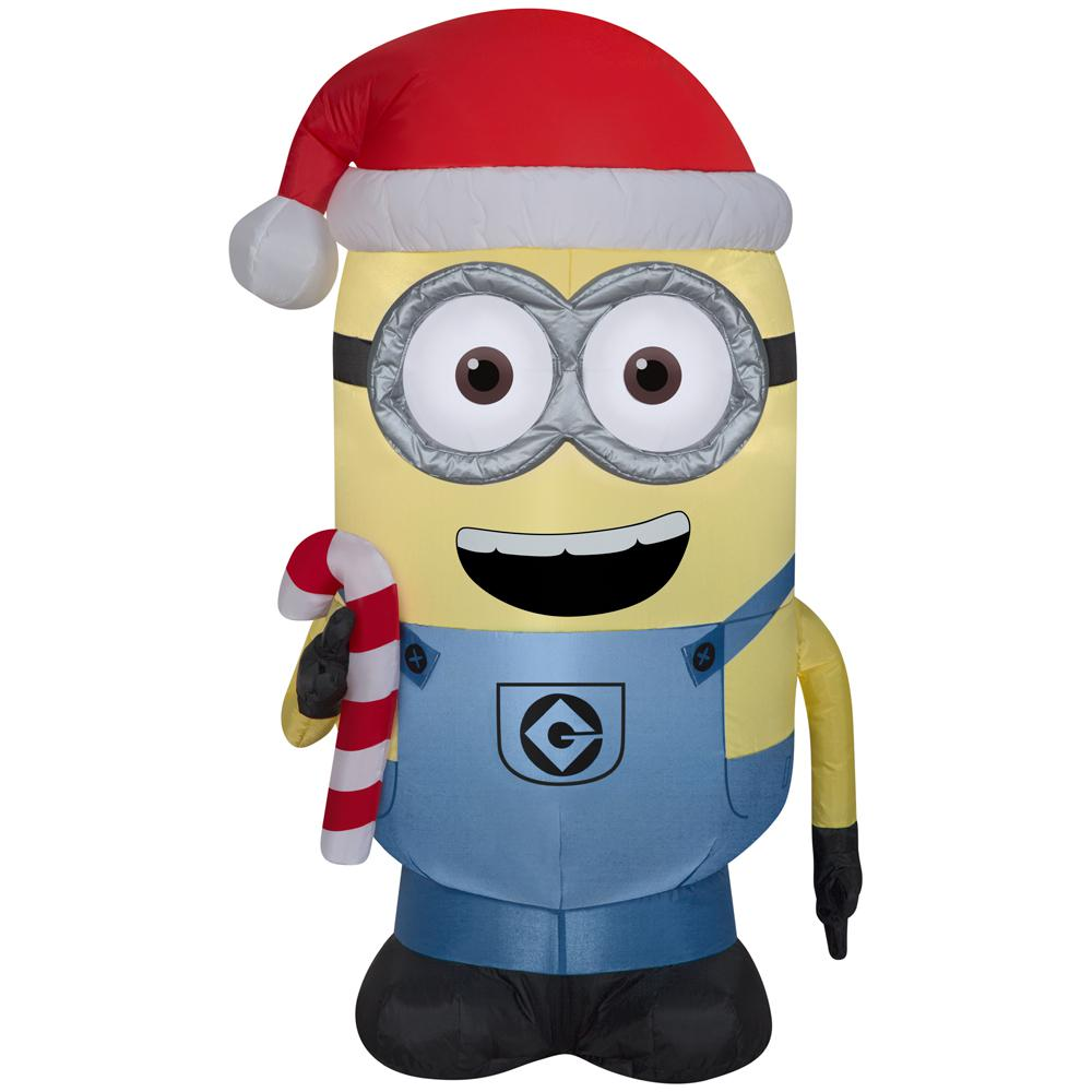 inflatable airblown minion dave with candy cane - Home Depot Inflatable Christmas Decorations