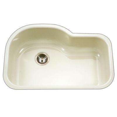 Porcela Series Undermount Porcelain Enamel Steel 31 in. Offset Single Bowl Kitchen Sink in Biscuit
