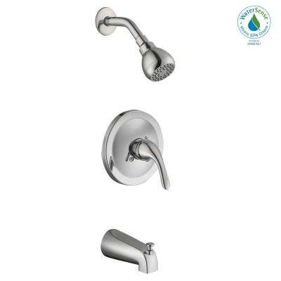Builders Single-Handle 1-Spray Tub and Shower Faucet in Chrome (Valve Included)
