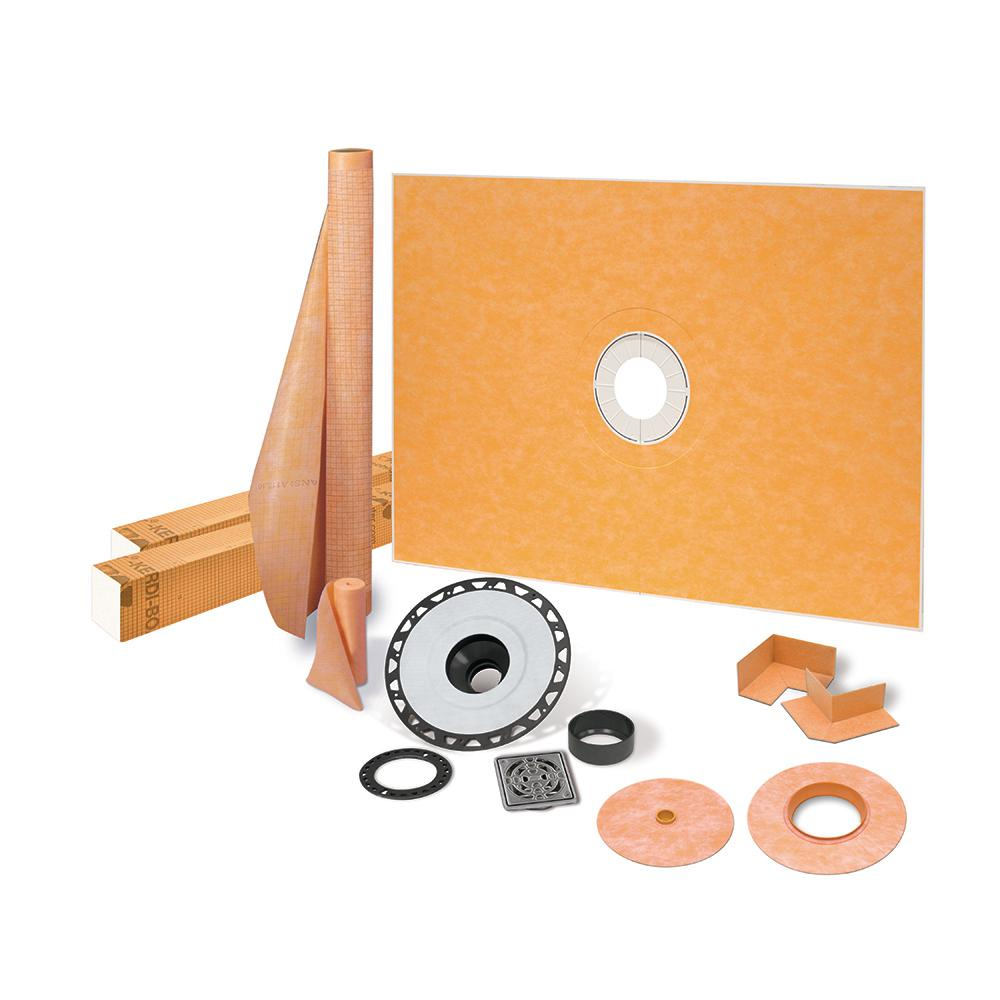 Schluter Kerdi-Shower-Kit 38 in. x 60 in. Shower Kit in ABS with Stainless Steel Drain Grate