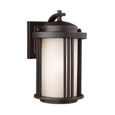 Crowell 1-Light Antique Bronze 10 in. Wall Lantern Sconce
