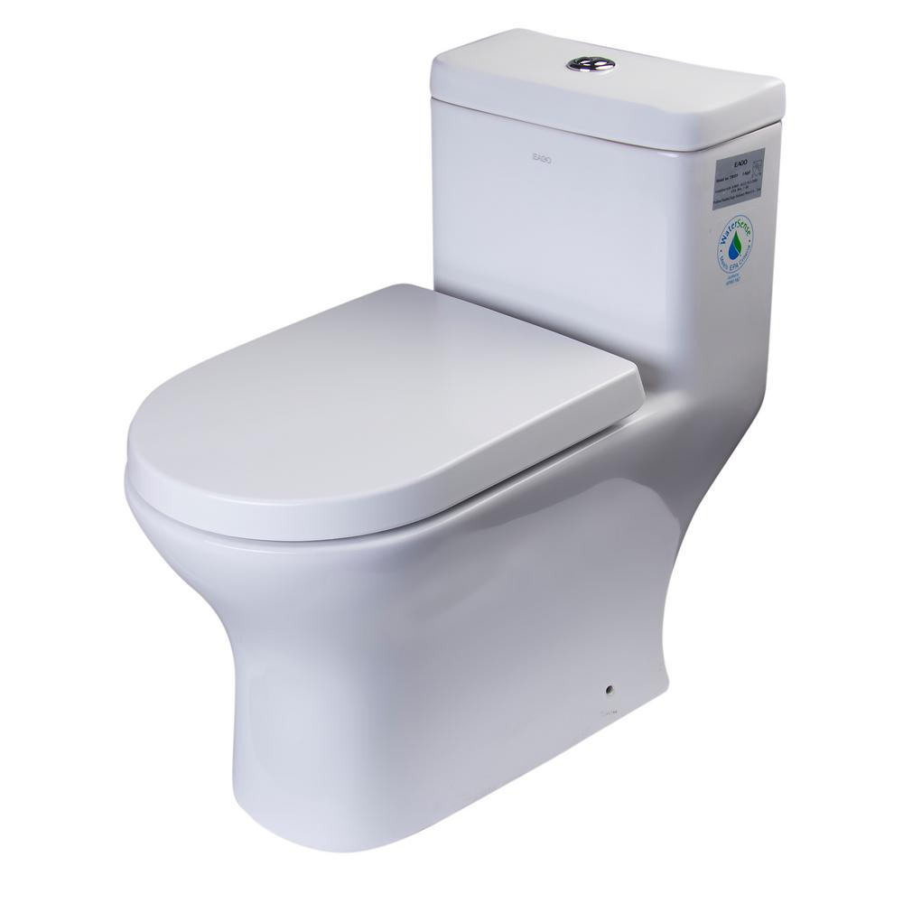 EAGO 1-Piece 0.8/1.6 GPF Dual Flush Elongated Toilet in White