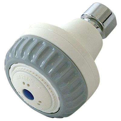 Massage 2-Spray 3 in. Fixed Showerhead in White and Gray