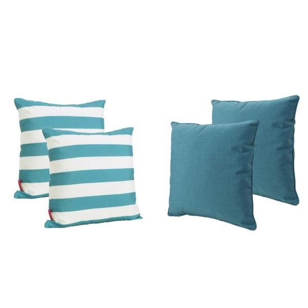 Coronado Teal Outdoor Throw Pillow (4-Pack)