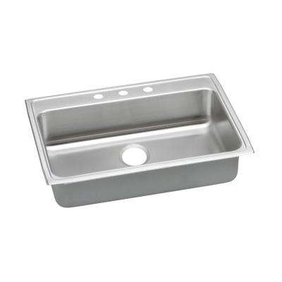 Lustertone Drop-In Stainless Steel 31 in. 3-Hole Single Bowl ADA Compliant Kitchen Sink with 6.5 in. Bowls