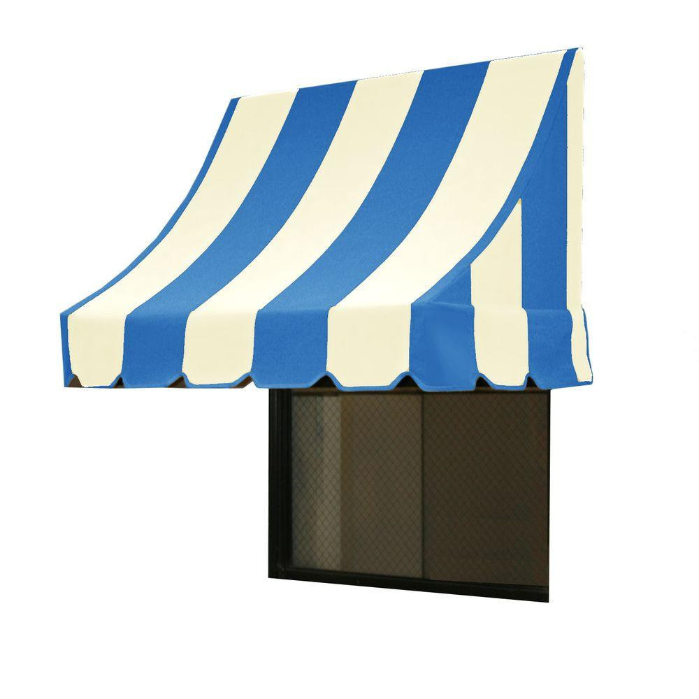 AWNTECH 5 ft. Nantucket Window/Entry Awning (44 in. H x 36 in. D) in Bright Blue/White Stripe