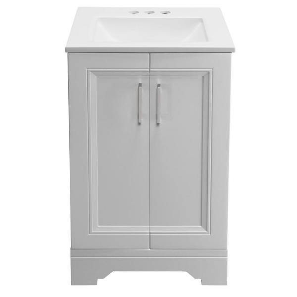 Glacier Bay Willowridge 18 1 2 In W Bath Vanity In Dove Gray With Cultured Marble Vanity Top In White With White Sink Ppavldvr18 The Home Depot