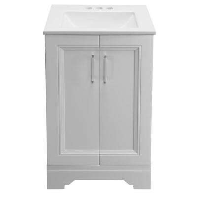 Willowridge 18-1/2 in. W Bath Vanity in Dove Gray with Cultured Marble Vanity Top in White with White Basin