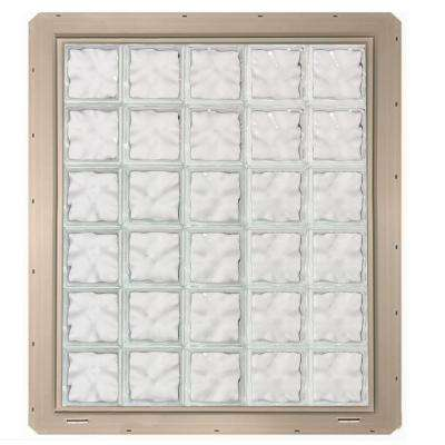 39.25 in. x 46.75 in. x 3.25 in. Wave Pattern Glass Block Window with Clay Colored Vinyl Nailing Fin