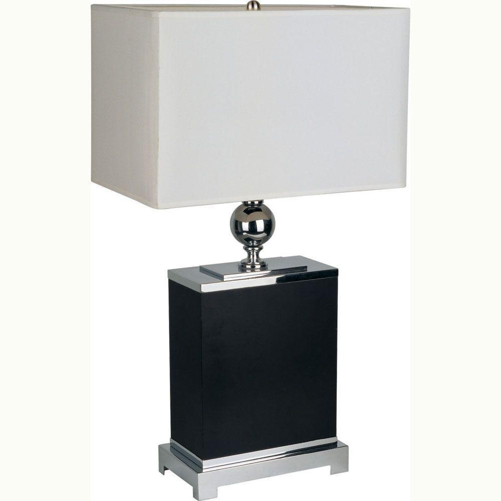 Ore International 25 In Black Wooden Square Dark Brown Table Lamp