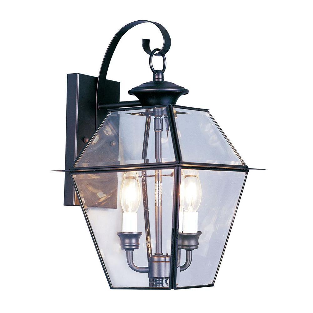 Livex Lighting 2-Light Black Outdoor Wall Lantern