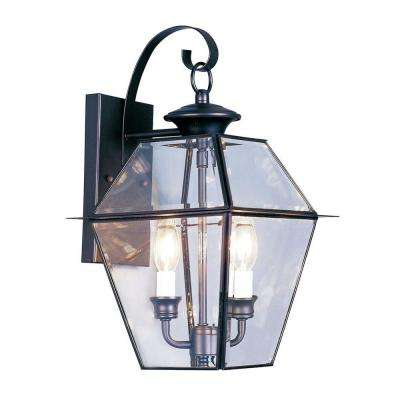 2-Light Black Outdoor Wall Lantern