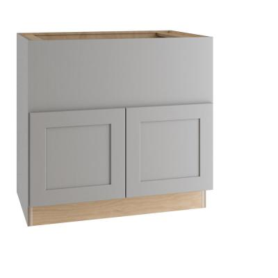 Tremont Assembled 36x34.5x24 in. Plywood Shaker Farm Sink Base Kitchen Cabinet Soft Close in Painted Pearl Gray