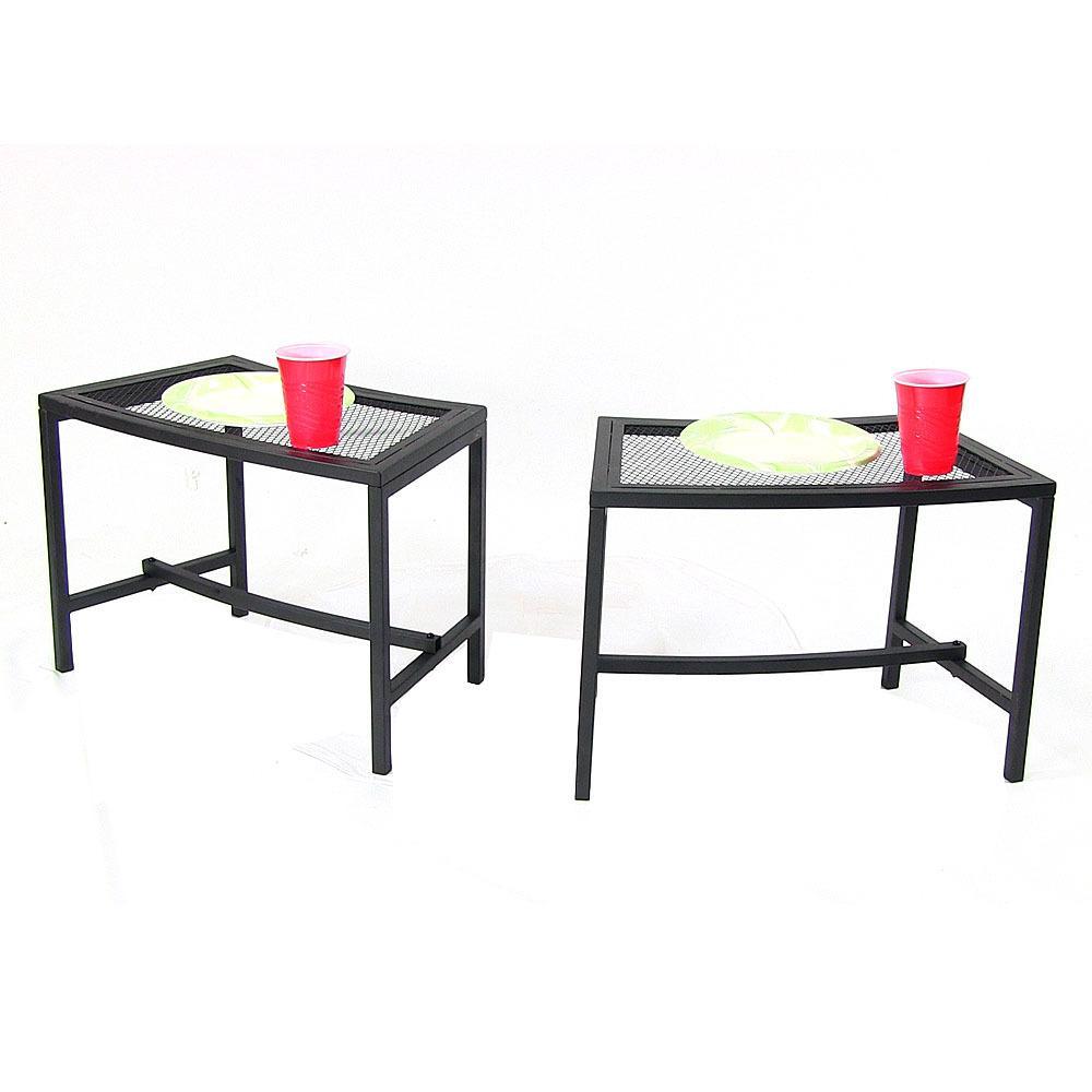Black Mesh Metal Patio Side Table - 2 Tables