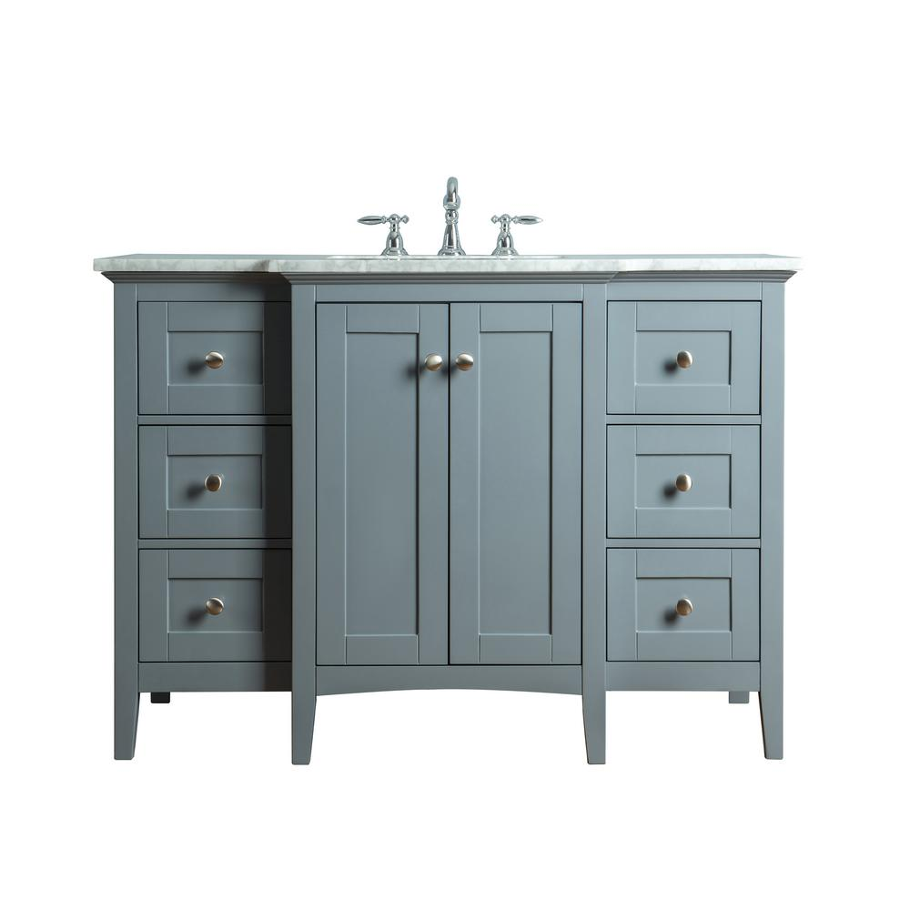 stufurhome Tower 48 in. W x 23.5 in. D Bath Vanity in Gray with Marble Vanity Top in Carrara White with White Basin