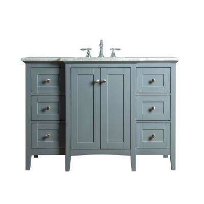 Tower 48 in. W x 23.5 in. D Bath Vanity in Gray with Marble Vanity Top in Carrara White with White Basin