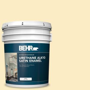 Behr 5 Gal 350a 3 Pale Sunshine Urethane Alkyd Satin Enamel Interior Exterior Paint 790005 The Home Depot