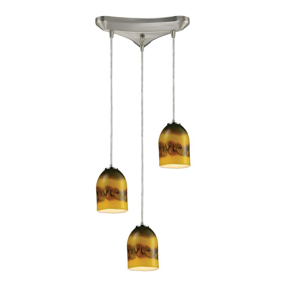 Titan Lighting 3-Light Ceiling Mount Satin Nickel Pendant-DISCONTINUED