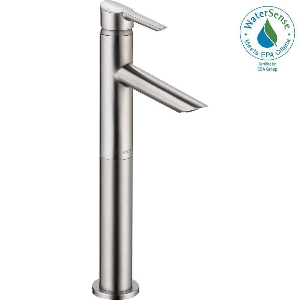 Compel Single Hole Single-Handle Vessel Bathroom Faucet in Stainless