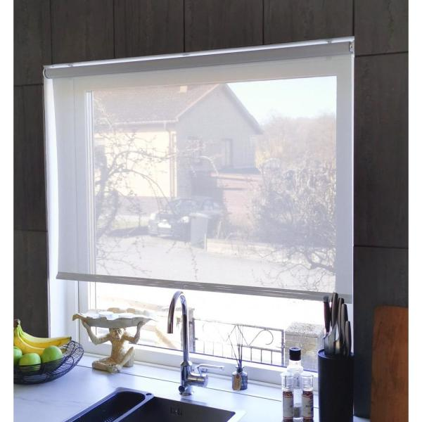Ifit Cut To Size 25 5 In W X 73 In L Light Gray Cordless Solar Screen Roller Shade 25513 The Home Depot