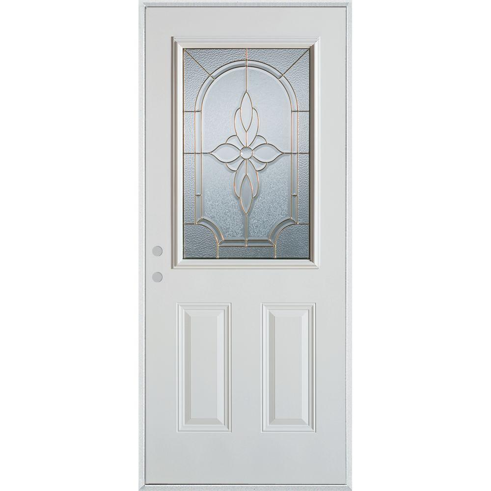 Stanley Doors 33.375 in. x 82.375 in. Traditional Brass 1/2 Lite 2-Panel Painted White Right-Hand Inswing Steel Prehung Front Door