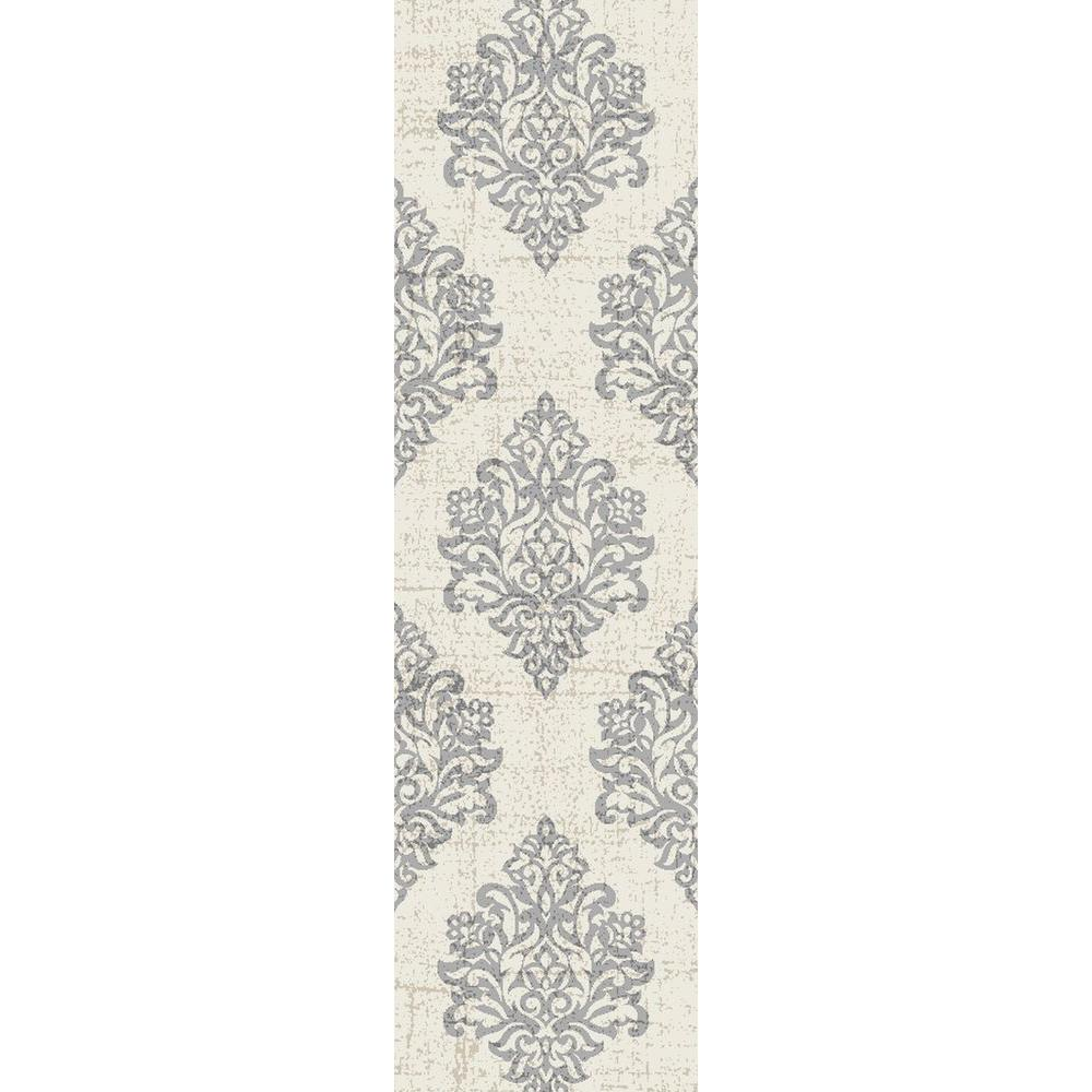 World Rug Gallery Transitional Damask High Quality Soft Gray 2 Ft X 7