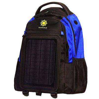 SolarGoPack 12k mAh Battery 5-Watt Size Solar Panel Charger Royal Blue and Black Backpack