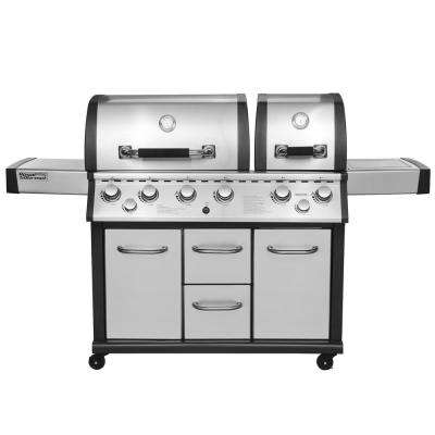 Two Split Lid 6-Burner Propane Gas Grill in Stainless Steel with Infrared Burner and Side Burner