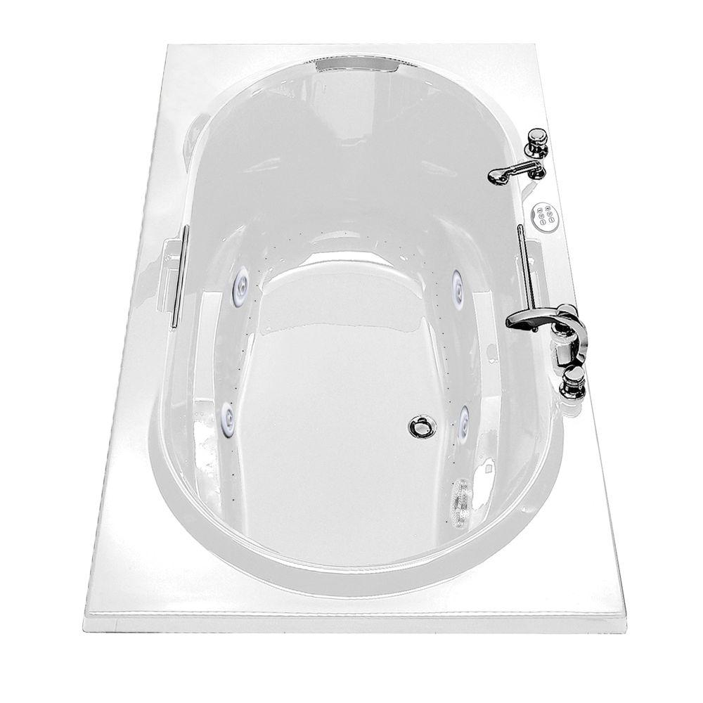 MAAX Antigua 72 in. Acrylic Center Drain Oval Drop-in Whirlpool and ...