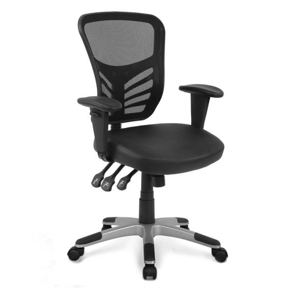 Poly and Bark Brighton Black Office Chair with Vegan Leather Seat