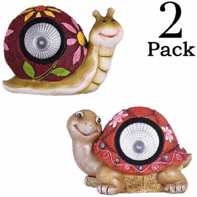 Solar Powered Turtle and Snail Spot 1-Light 5 in. Integrated LED with Light Up Shell (2-Pack)