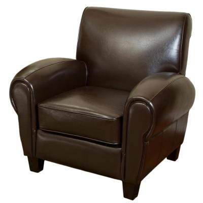 Finley Marble Brown Bonded Leather Club Chair
