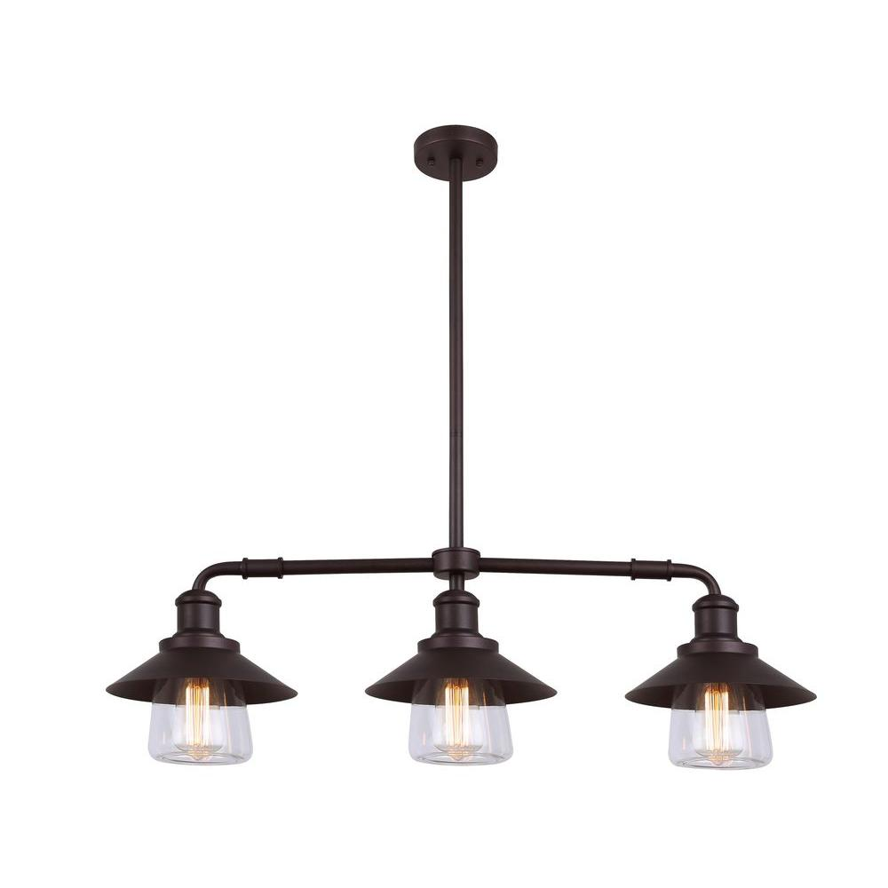 CANARM Indi Light Bronze Pendant With Clear GlassIPLAORB - 3 pendant light fixture island