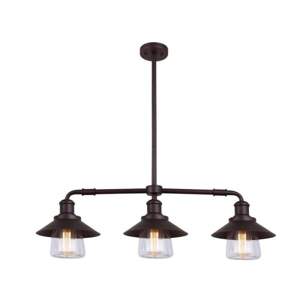 Indi 3-Light Bronze Pendant with Clear Glass