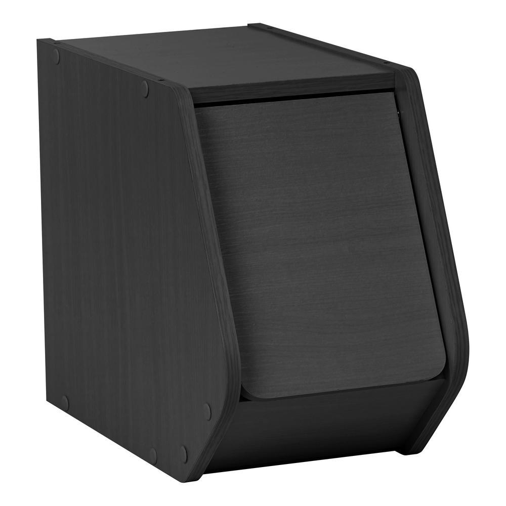 TACHI Black Narrow Modular Wood Stacking Storage Box with Door