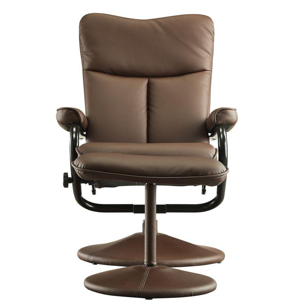 Hawkins Brown Faux Leather Swivel Chair with Ottoman