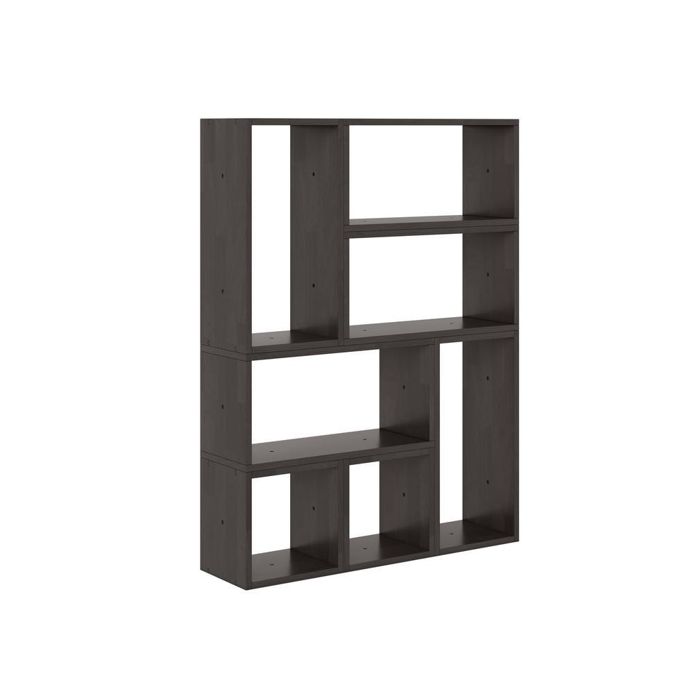 Freemont Dark Brown Modern 7-Block Wood Shelving Set