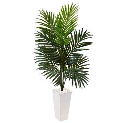 Indoor Kentia Palm Artificial Tree in White Tower Planter