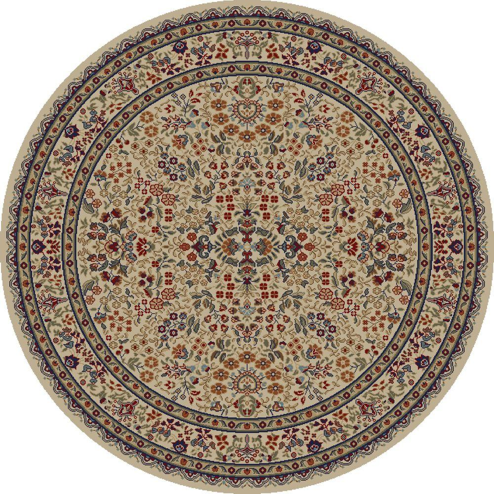 Concord Global Trading Jewel Sarouk Ivory 5 ft. 3 in. Round Area Rug