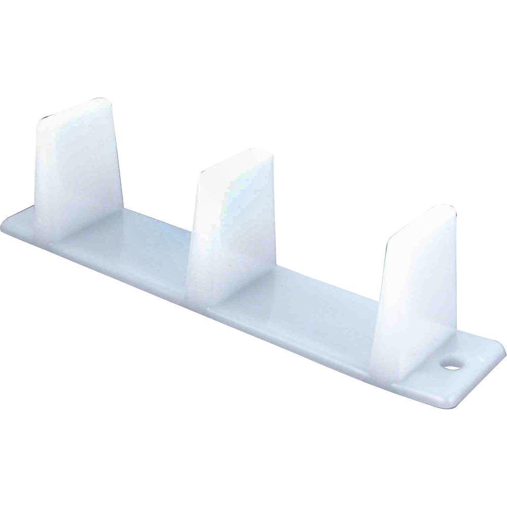 Sliding Closet Door Bottom Guide, 4-3/16 in., Plastic, White (2-pack)