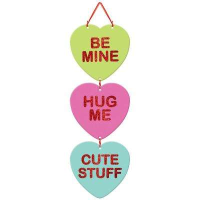 18 in. Valentine's Day Conversation Hearts Stacked Sign (4-Pack)