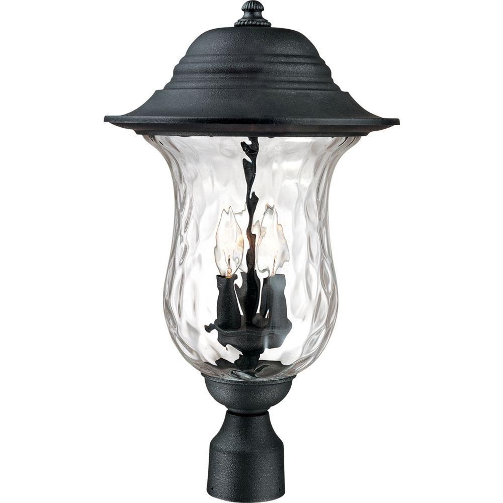 3-Light Antique Iron Outdoor Post Light