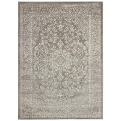 Montvale Collection Traditional Medallion Gray 5 ft. 3 in. x 7 ft. Area Rug