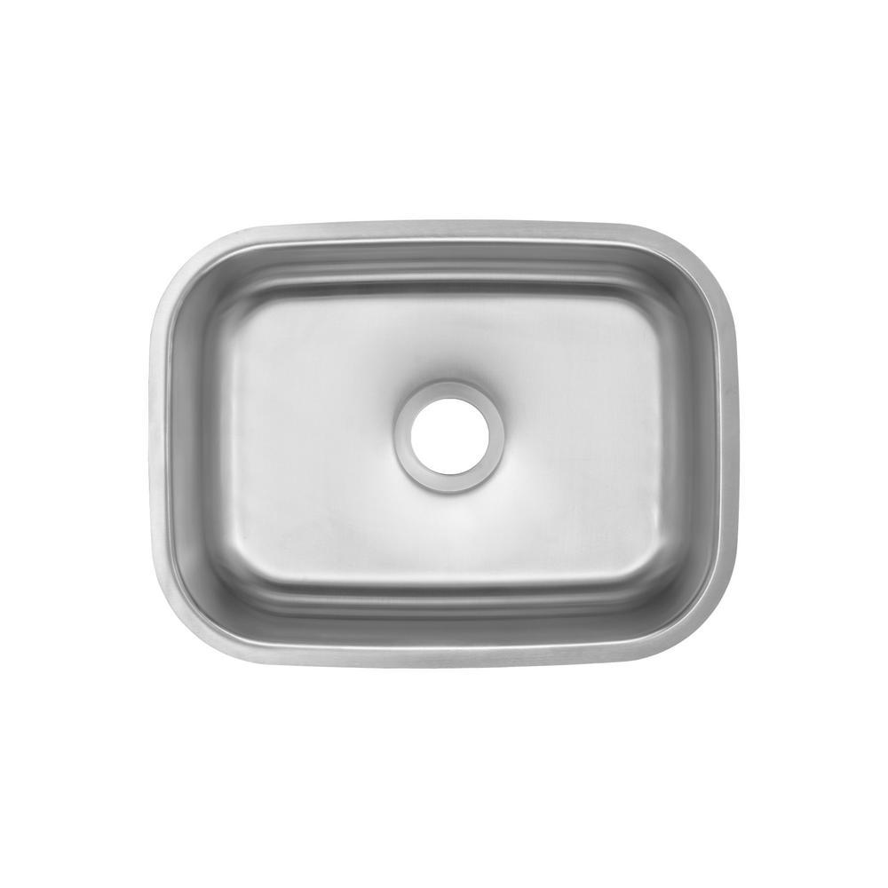 Glacier Bay Undermount 16-Gauge Stainless Steel 23 in. 0-Hole Single Bowl Kitchen Sink
