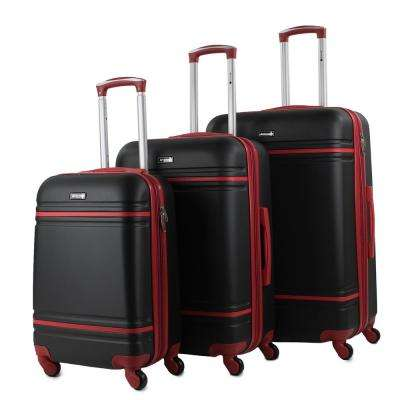 Varsity 3-Piece Black/Red Expandable Hardside Spinner Luggage Set